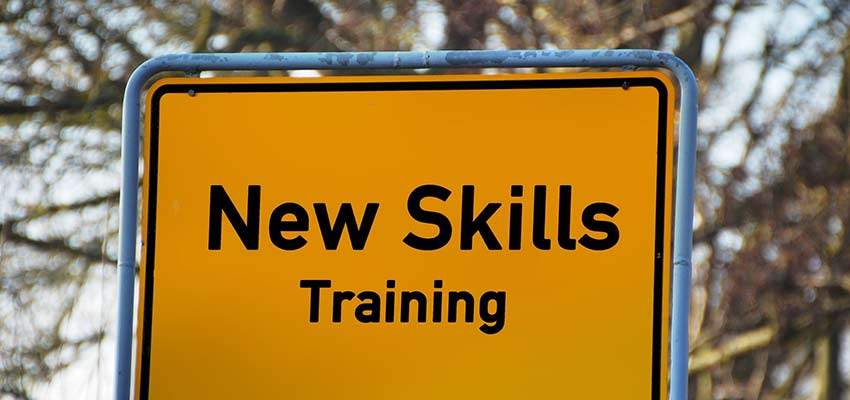 """Sign that reads """"New Skills Training""""."""