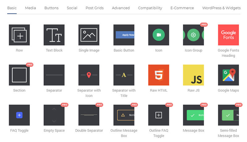 A selection of Visual Composer Content Elements.